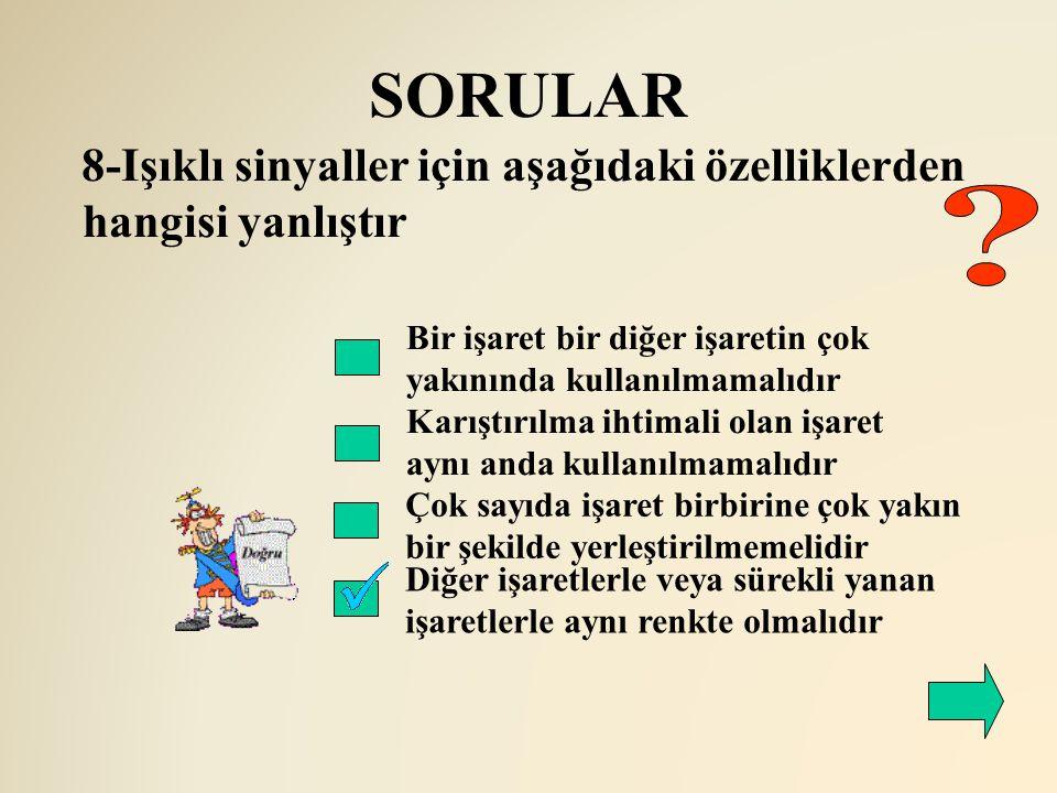 SORULAR 8-Işıklı sinyaller için aşağıdaki özelliklerden hangisi yanlıştır. Bir işaret bir diğer işaretin çok yakınında kullanılmamalıdır.