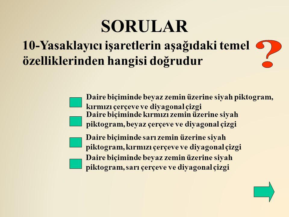 SORULAR 10-Yasaklayıcı işaretlerin aşağıdaki temel özelliklerinden hangisi doğrudur.