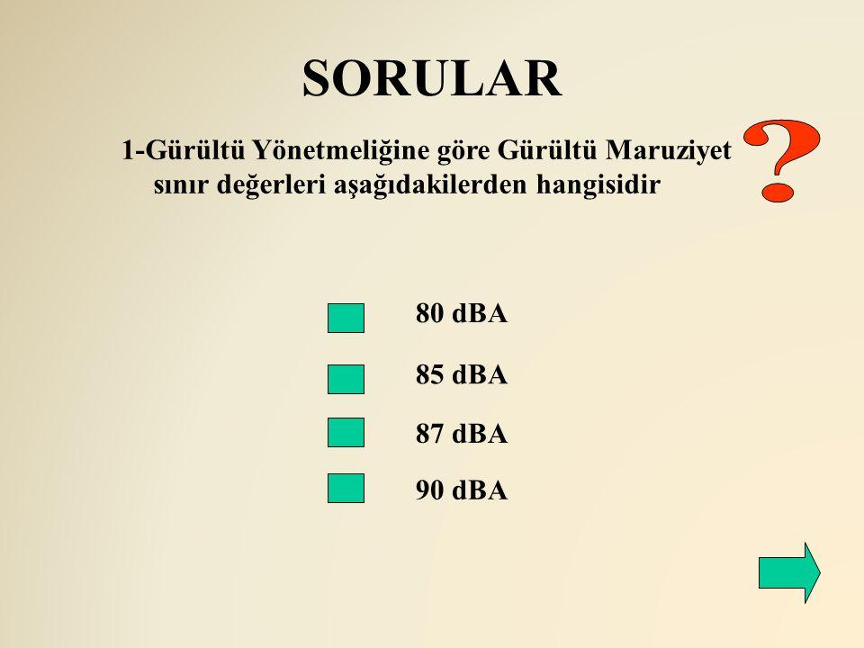 SORULAR 1-Gürültü Yönetmeliğine göre Gürültü Maruziyet sınır değerleri aşağıdakilerden hangisidir.