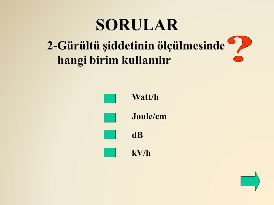 SORULAR 2-Gürültü şiddetinin ölçülmesinde hangi birim kullanılır