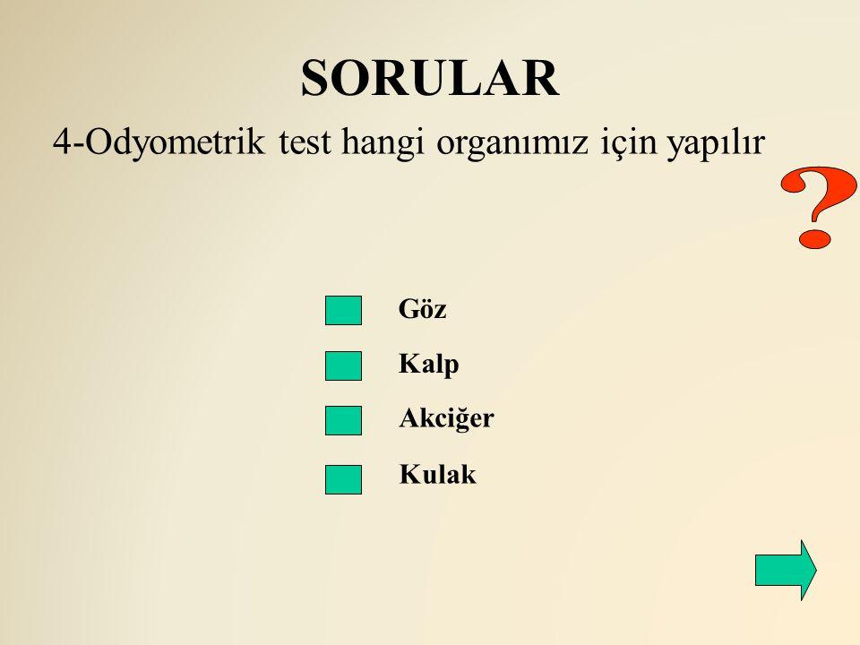 SORULAR 4-Odyometrik test hangi organımız için yapılır Göz Kalp