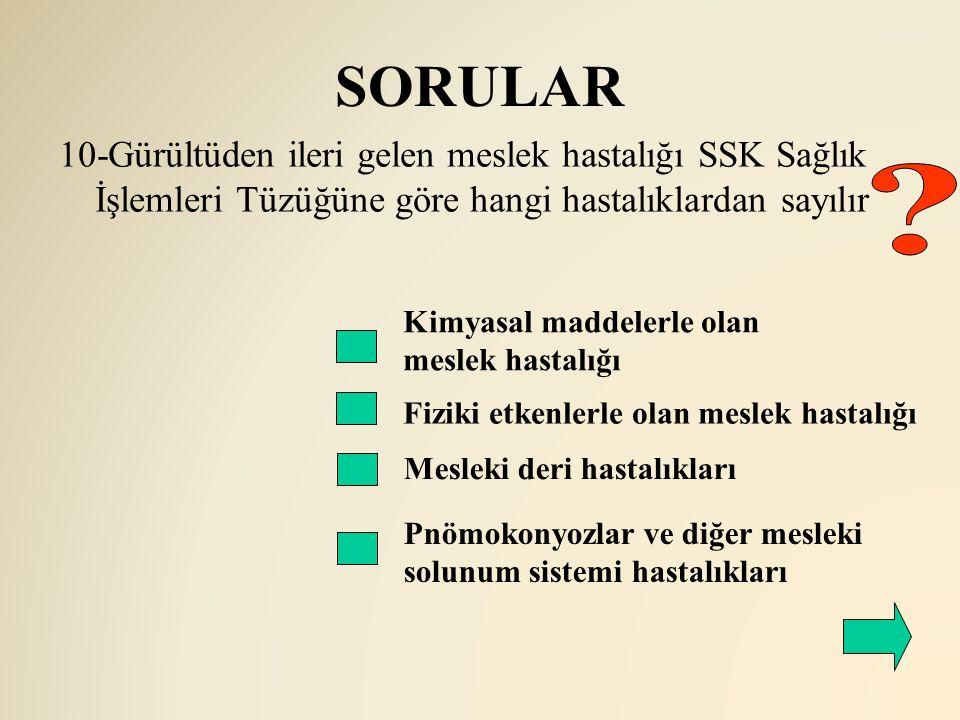 SORULAR 10-Gürültüden ileri gelen meslek hastalığı SSK Sağlık İşlemleri Tüzüğüne göre hangi hastalıklardan sayılır.