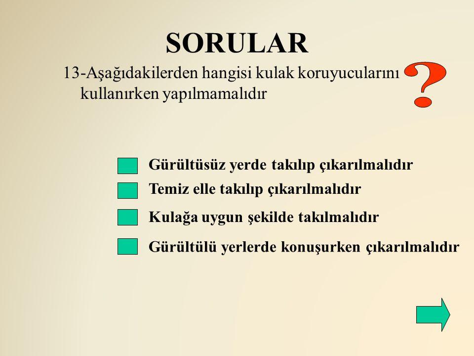 SORULAR 13-Aşağıdakilerden hangisi kulak koruyucularını kullanırken yapılmamalıdır. Gürültüsüz yerde takılıp çıkarılmalıdır.