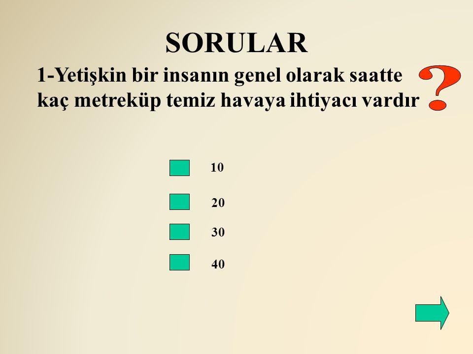 SORULAR 1-Yetişkin bir insanın genel olarak saatte kaç metreküp temiz havaya ihtiyacı vardır. 10.