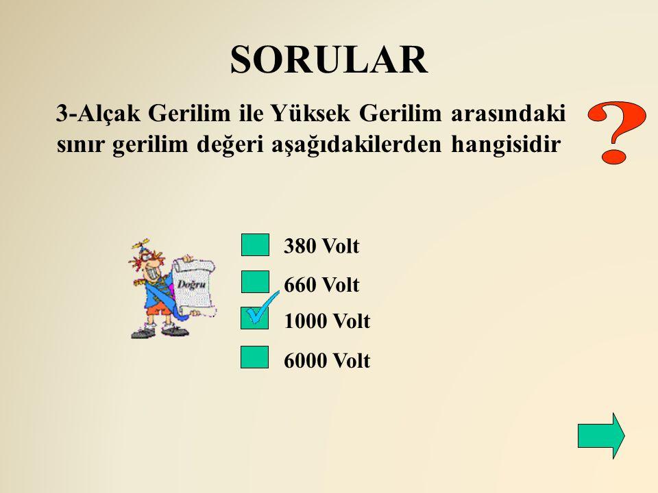 SORULAR 3-Alçak Gerilim ile Yüksek Gerilim arasındaki sınır gerilim değeri aşağıdakilerden hangisidir.