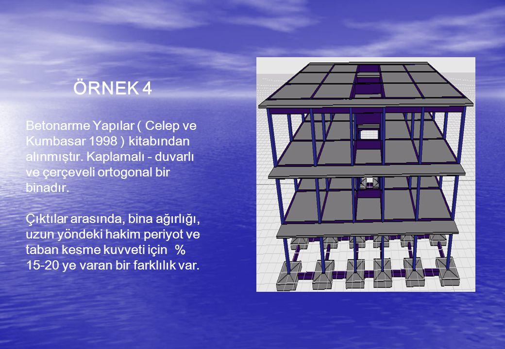 ÖRNEK 4 Betonarme Yapılar ( Celep ve Kumbasar 1998 ) kitabından alınmıştır. Kaplamalı - duvarlı ve çerçeveli ortogonal bir binadır.