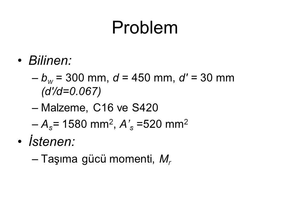 Problem Bilinen: İstenen: