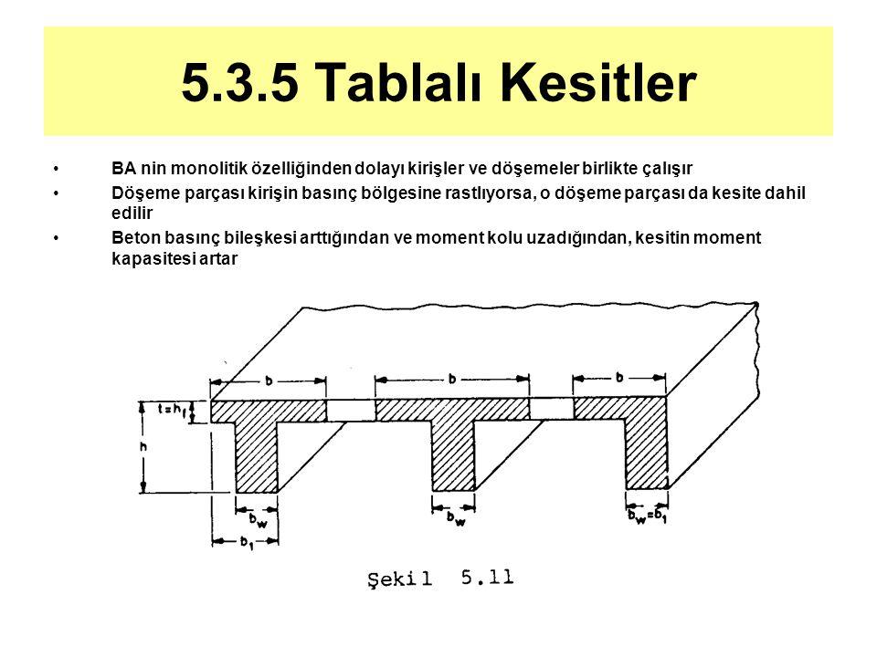 5.3.5 Tablalı Kesitler BA nin monolitik özelliğinden dolayı kirişler ve döşemeler birlikte çalışır.