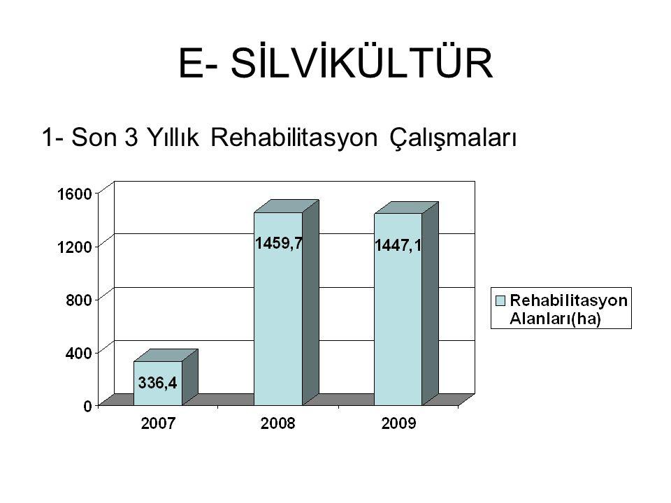 E- SİLVİKÜLTÜR 1- Son 3 Yıllık Rehabilitasyon Çalışmaları