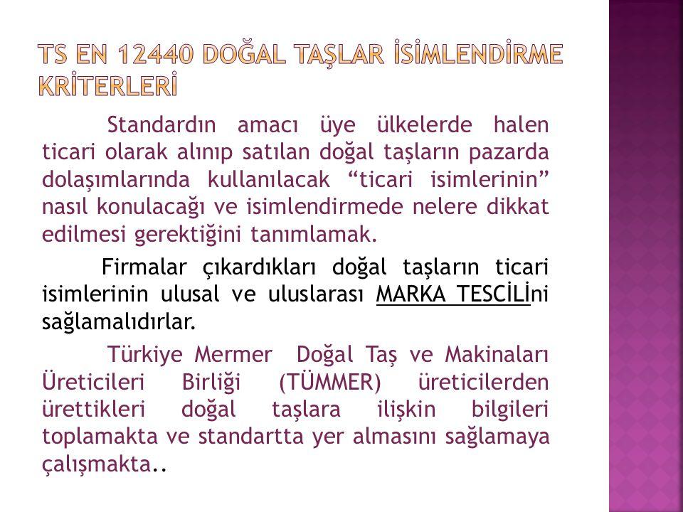 Ts en 12440 DOĞAL TAŞLAR İSİMLENDİRME KRİTERLERİ