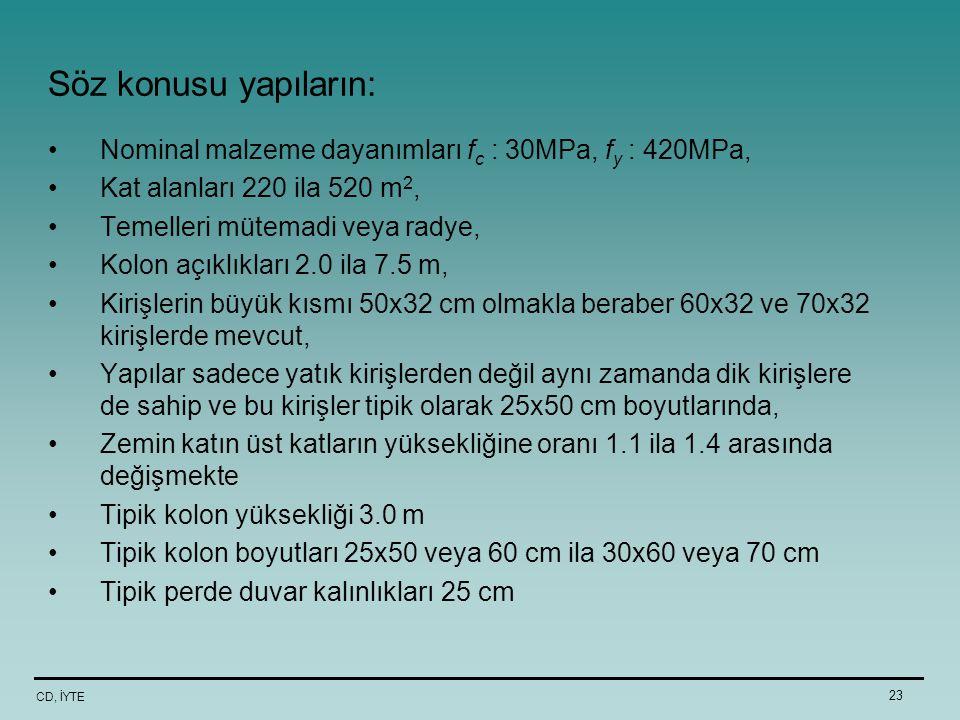 Söz konusu yapıların: Nominal malzeme dayanımları fc : 30MPa, fy : 420MPa, Kat alanları 220 ila 520 m2,