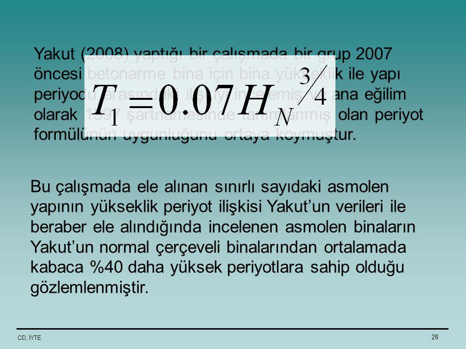 Yakut (2008) yaptığı bir çalışmada bir grup 2007 öncesi betonarme bina için bina yükseklik ile yapı periyodu arasındaki ilişkiyi incelemiş ve ana eğilim olarak 1997 şartnamesinde tanımlanmış olan periyot formülünün uygunluğunu ortaya koymuştur.