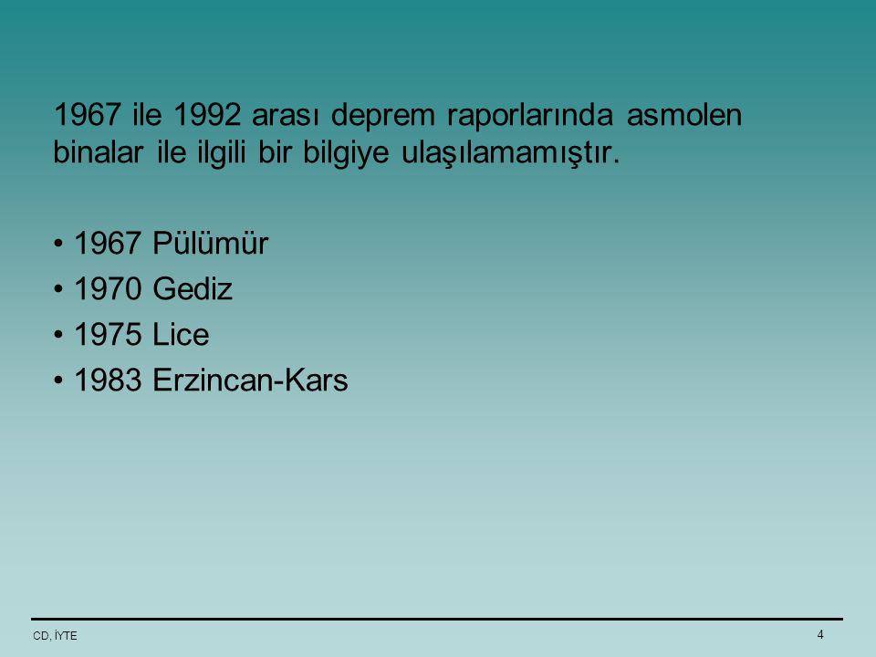 1967 ile 1992 arası deprem raporlarında asmolen binalar ile ilgili bir bilgiye ulaşılamamıştır.