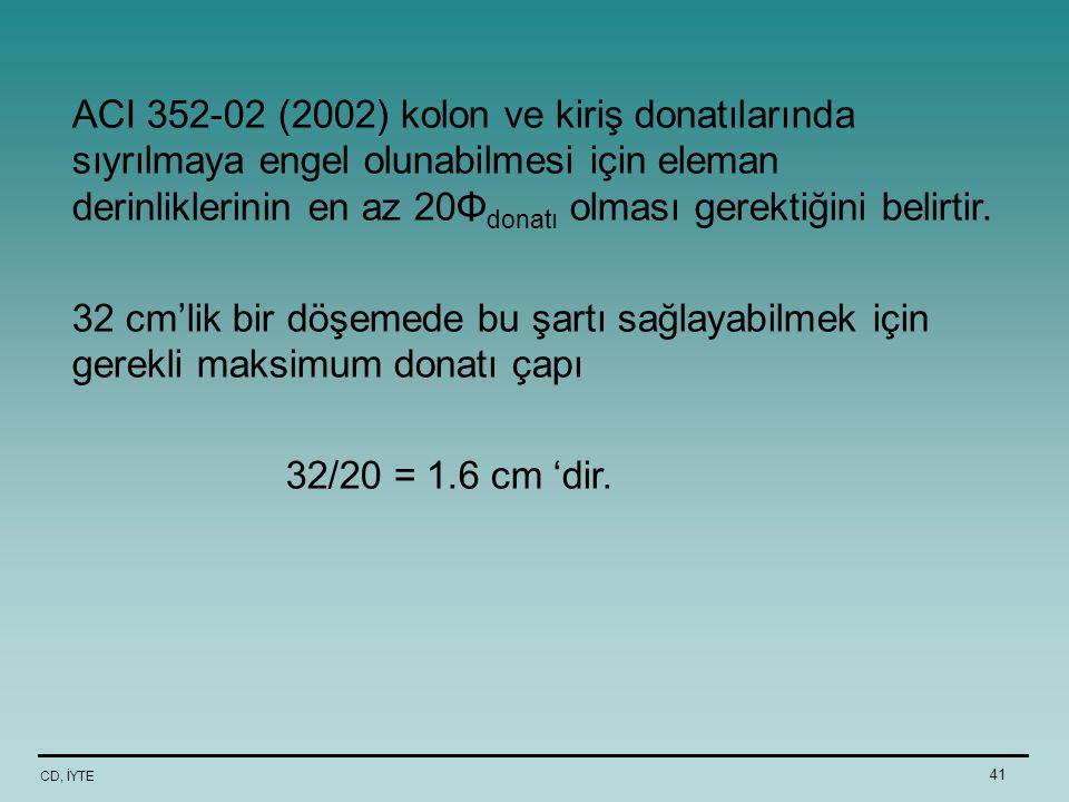 ACI 352-02 (2002) kolon ve kiriş donatılarında sıyrılmaya engel olunabilmesi için eleman derinliklerinin en az 20Φdonatı olması gerektiğini belirtir.