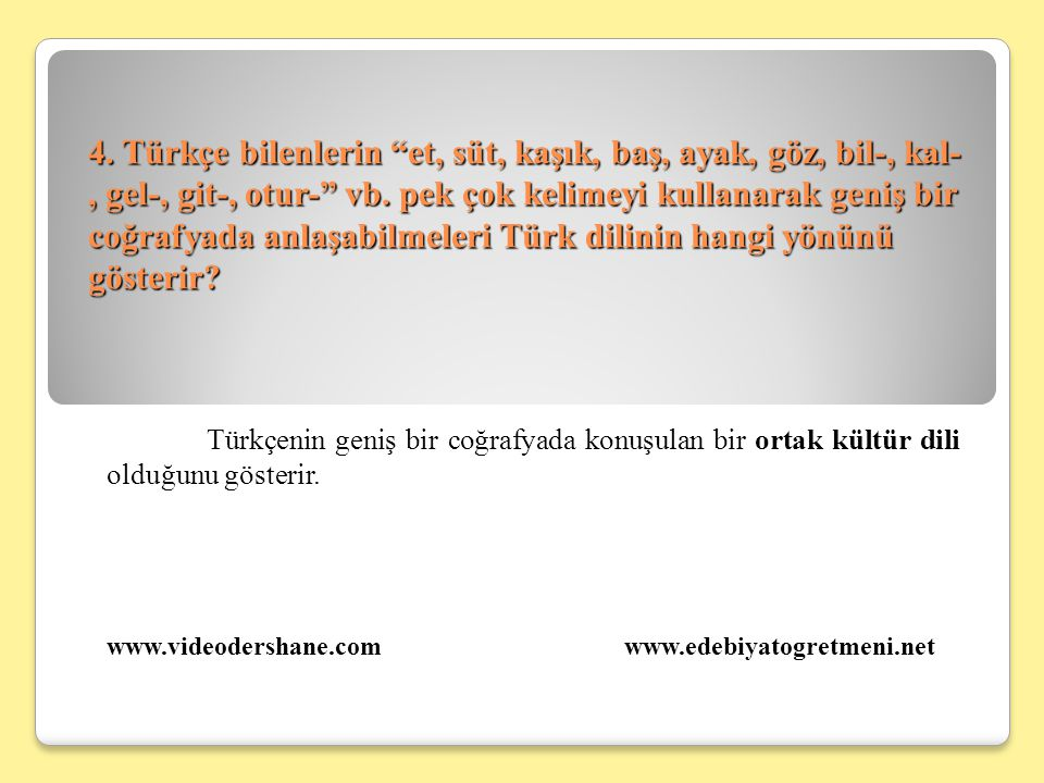 4. Türkçe bilenlerin et, süt, kaşık, baş, ayak, göz, bil-, kal-, gel-, git-, otur- vb. pek çok kelimeyi kullanarak geniş bir coğrafyada anlaşabilmeleri Türk dilinin hangi yönünü gösterir