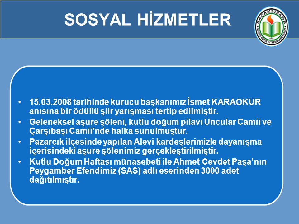 SOSYAL HİZMETLER 15.03.2008 tarihinde kurucu başkanımız İsmet KARAOKUR anısına bir ödüllü şiir yarışması tertip edilmiştir.