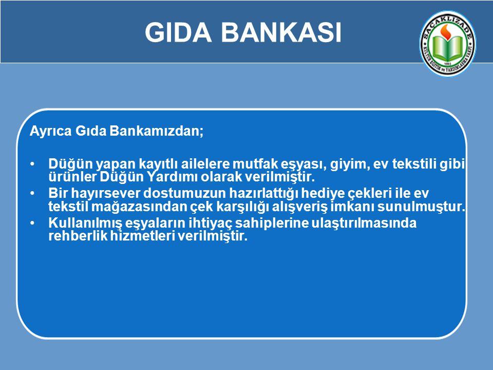 GIDA BANKASI Ayrıca Gıda Bankamızdan;