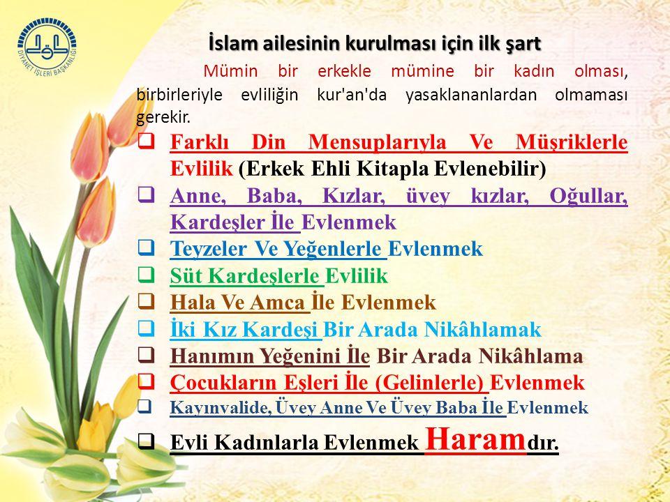 İslam ailesinin kurulması için ilk şart