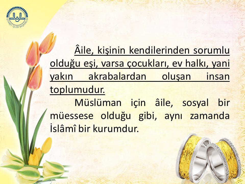 Âile, kişinin kendilerinden sorumlu olduğu eşi, varsa çocukları, ev halkı, yani yakın akrabalardan oluşan insan toplumudur.