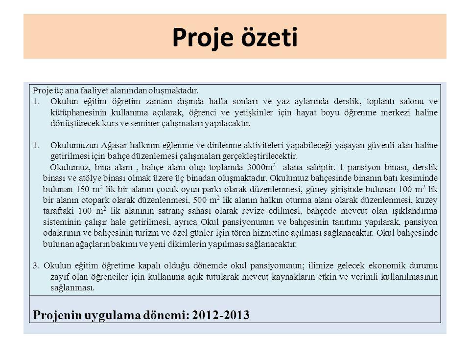 Proje özeti Projenin uygulama dönemi: 2012-2013