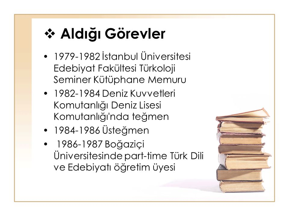Aldığı Görevler 1979-1982 İstanbul Üniversitesi Edebiyat Fakültesi Türkoloji Seminer Kütüphane Memuru.