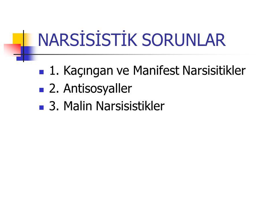 NARSİSİSTİK SORUNLAR 1. Kaçıngan ve Manifest Narsisitikler