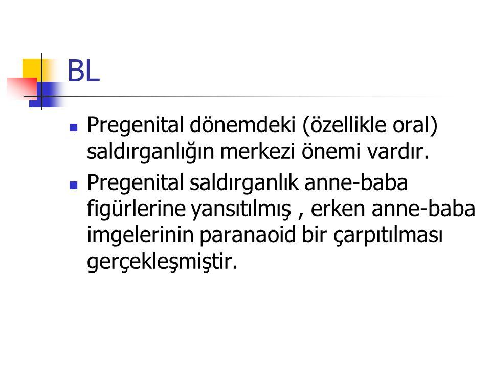 BL Pregenital dönemdeki (özellikle oral) saldırganlığın merkezi önemi vardır.