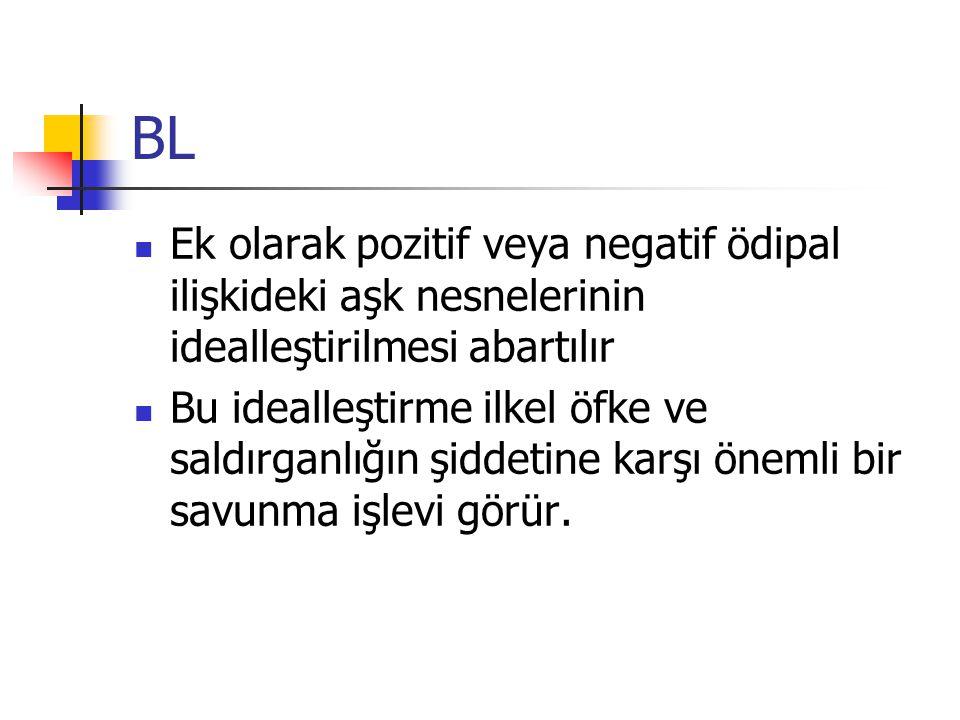 BL Ek olarak pozitif veya negatif ödipal ilişkideki aşk nesnelerinin idealleştirilmesi abartılır.