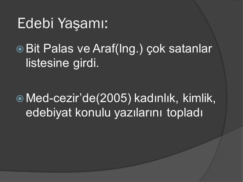 Edebi Yaşamı: Bit Palas ve Araf(Ing.) çok satanlar listesine girdi.