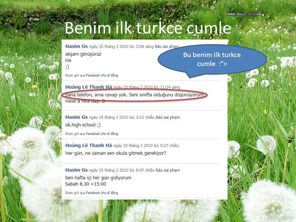 Bu benim ilk turkce cumle : >