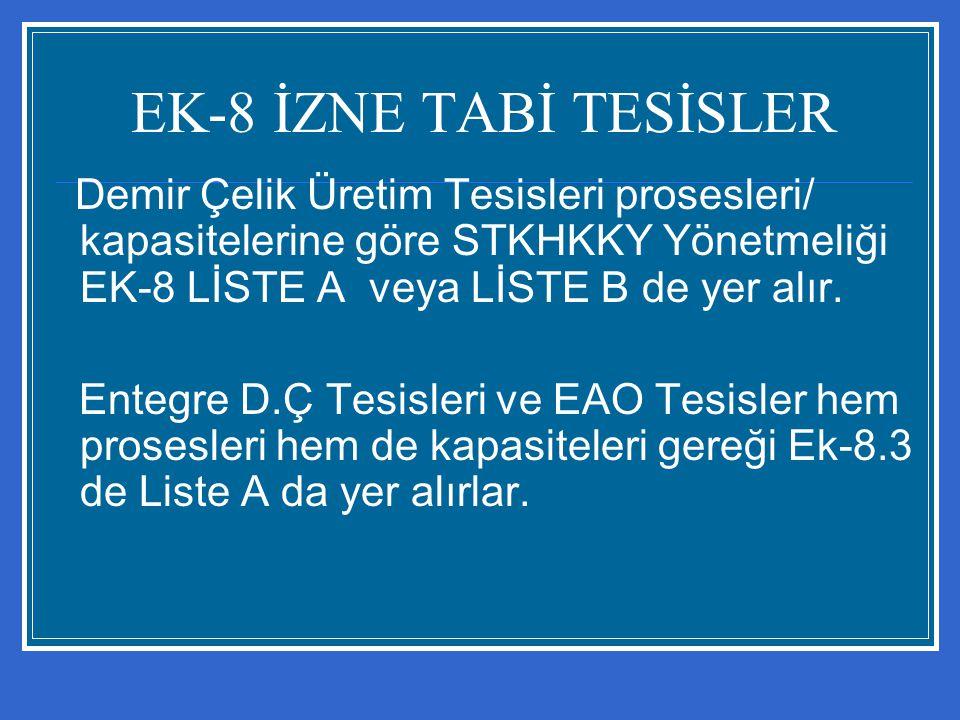 EK-8 İZNE TABİ TESİSLER Demir Çelik Üretim Tesisleri prosesleri/ kapasitelerine göre STKHKKY Yönetmeliği EK-8 LİSTE A veya LİSTE B de yer alır.