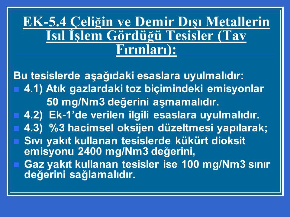 EK-5.4 Çeliğin ve Demir Dışı Metallerin Isıl İşlem Gördüğü Tesisler (Tav Fırınları):