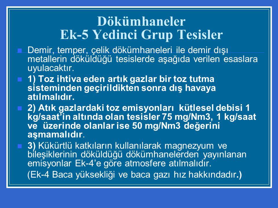Dökümhaneler Ek-5 Yedinci Grup Tesisler