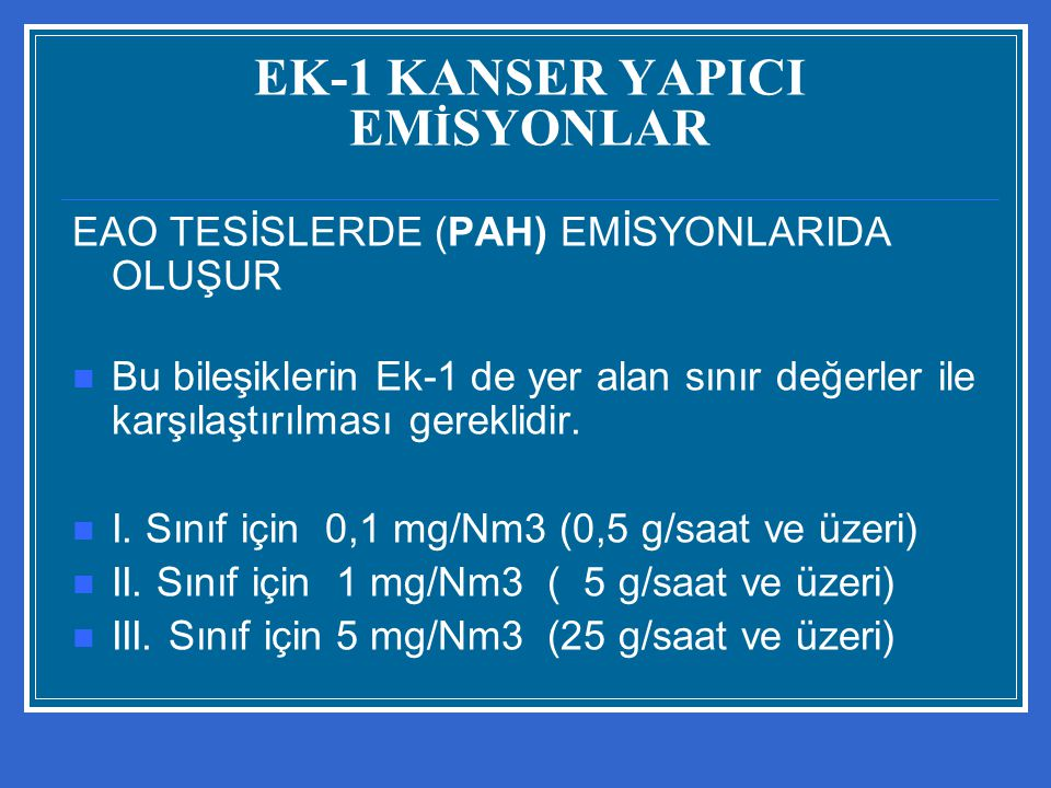 EK-1 KANSER YAPICI EMİSYONLAR