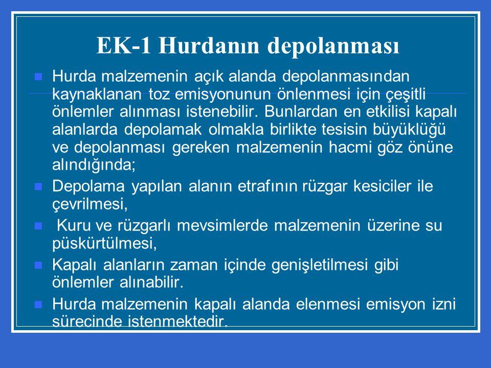 EK-1 Hurdanın depolanması