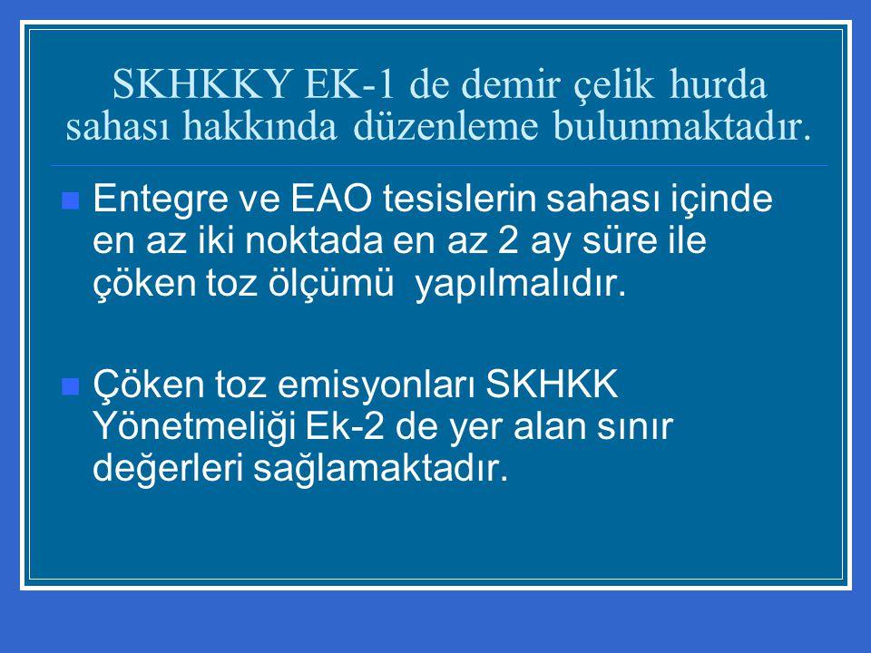 SKHKKY EK-1 de demir çelik hurda sahası hakkında düzenleme bulunmaktadır.