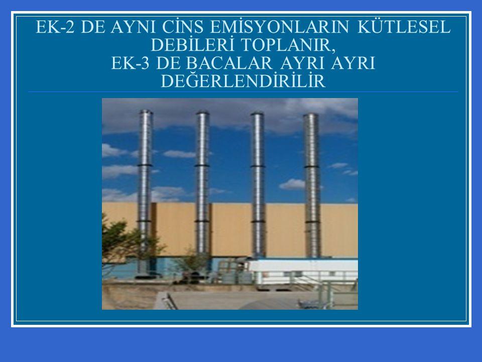 EK-2 DE AYNI CİNS EMİSYONLARIN KÜTLESEL DEBİLERİ TOPLANIR, EK-3 DE BACALAR AYRI AYRI DEĞERLENDİRİLİR