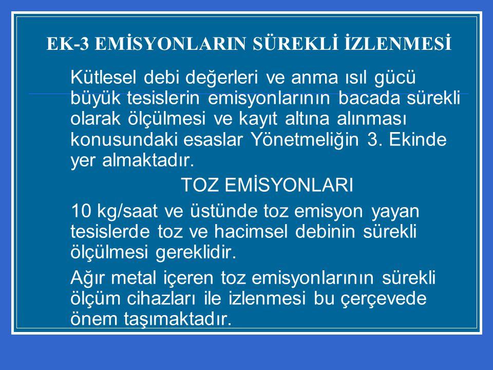 EK-3 EMİSYONLARIN SÜREKLİ İZLENMESİ