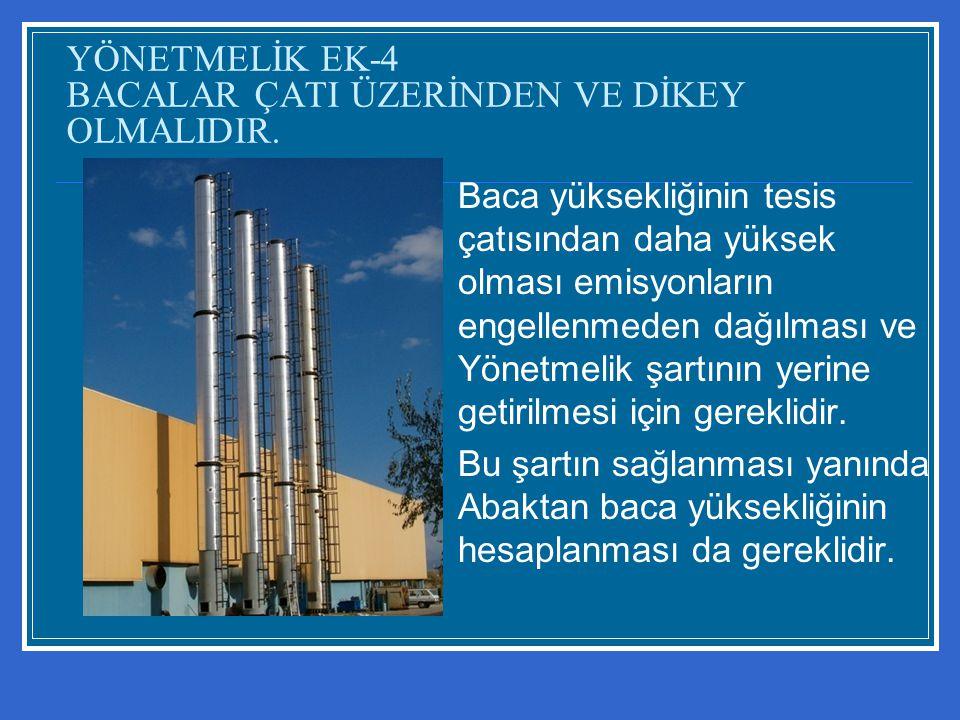 YÖNETMELİK EK-4 BACALAR ÇATI ÜZERİNDEN VE DİKEY OLMALIDIR.