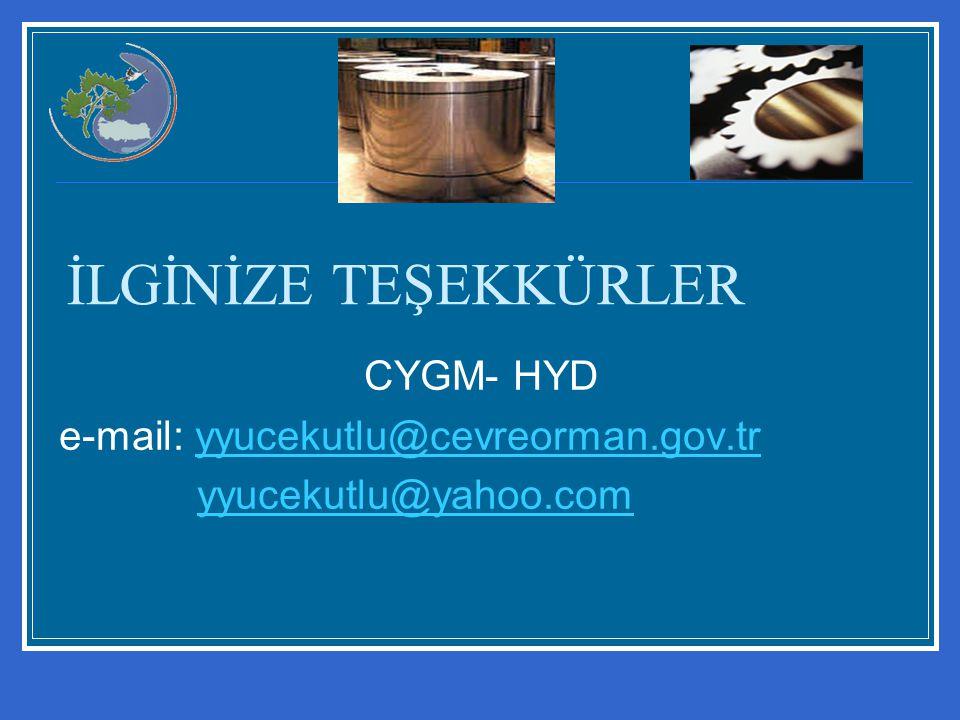 İLGİNİZE TEŞEKKÜRLER CYGM- HYD e-mail: yyucekutlu@cevreorman.gov.tr
