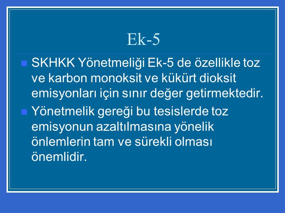 Ek-5 SKHKK Yönetmeliği Ek-5 de özellikle toz ve karbon monoksit ve kükürt dioksit emisyonları için sınır değer getirmektedir.