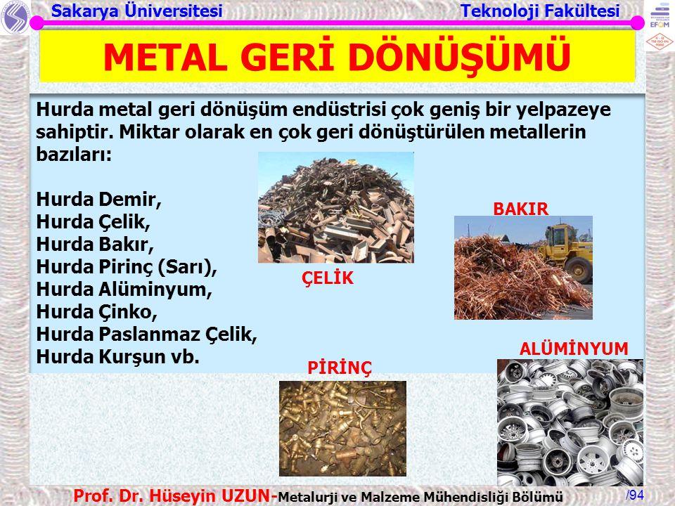 METAL GERİ DÖNÜŞÜMÜ Hurda metal geri dönüşüm endüstrisi çok geniş bir yelpazeye sahiptir. Miktar olarak en çok geri dönüştürülen metallerin bazıları: