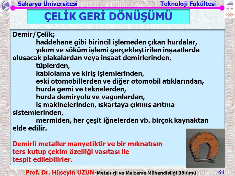 ÇELİK GERİ DÖNÜŞÜMÜ Demir/Çelik;