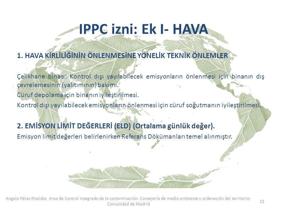 IPPC izni: Ek I- HAVA HAVA KİRLİLİĞİNİN ÖNLENMESİNE YÖNELİK TEKNİK ÖNLEMLER.