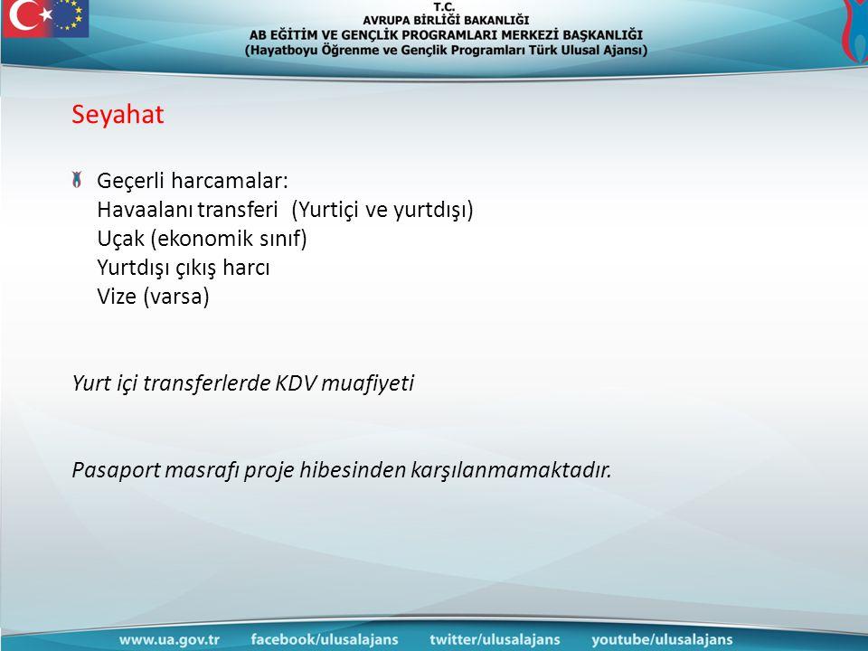Seyahat Geçerli harcamalar: Havaalanı transferi (Yurtiçi ve yurtdışı)