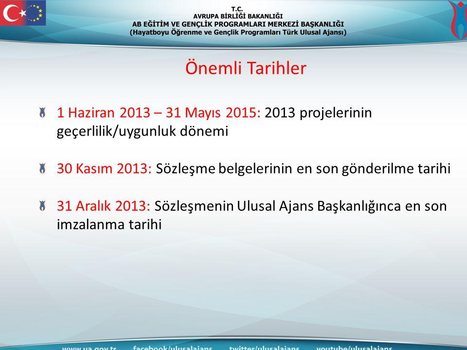 Önemli Tarihler 1 Haziran 2013 – 31 Mayıs 2015: 2013 projelerinin geçerlilik/uygunluk dönemi.