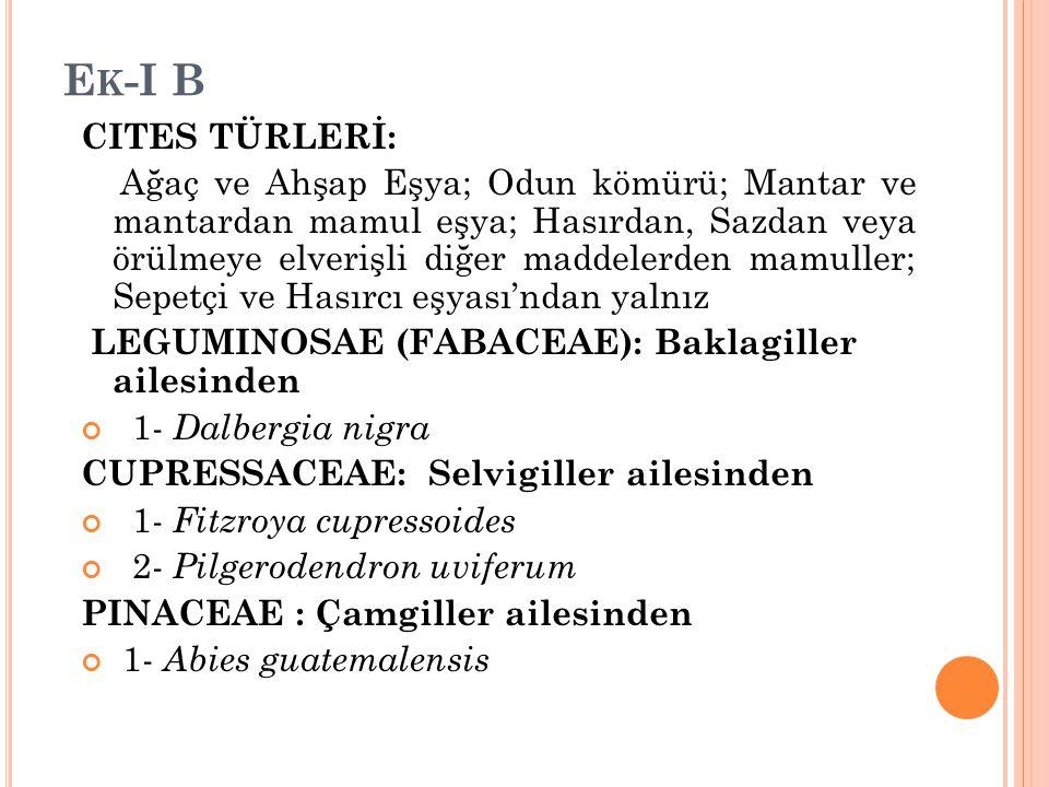 Ek-I B CITES TÜRLERİ: