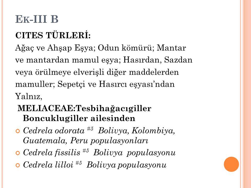 Ek-III B CITES TÜRLERİ: Ağaç ve Ahşap Eşya; Odun kömürü; Mantar