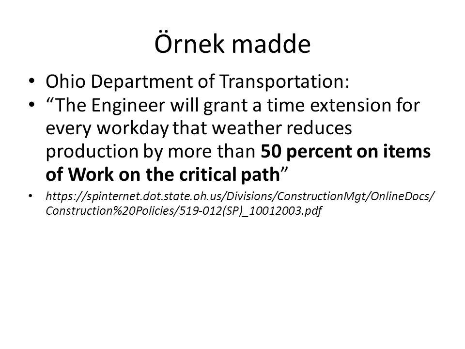 Örnek madde Ohio Department of Transportation:
