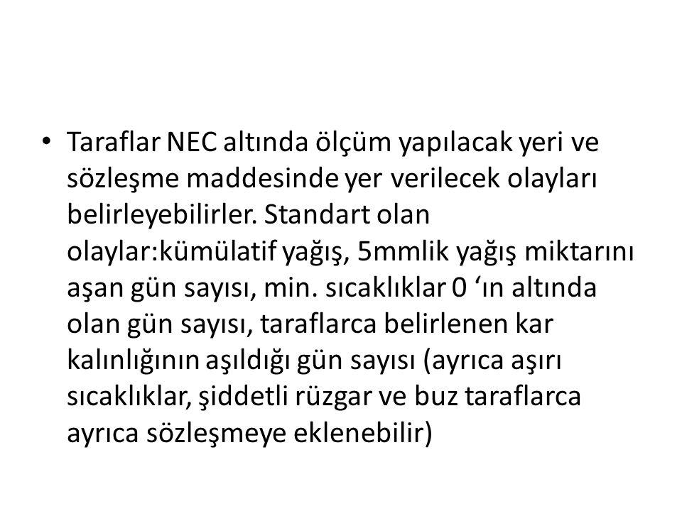 Taraflar NEC altında ölçüm yapılacak yeri ve sözleşme maddesinde yer verilecek olayları belirleyebilirler.